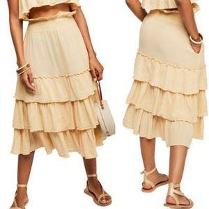 Free People Sea Breeze Midi Skirt Size Medium